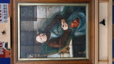 Appraisal: 19th-Century Adolph Metzner Painted Tile