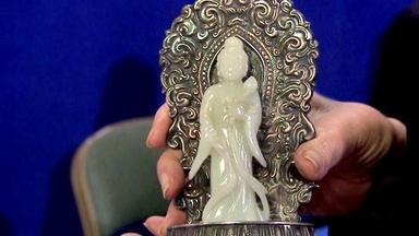 Appraisal: Chinese White Jade & Silver Figure