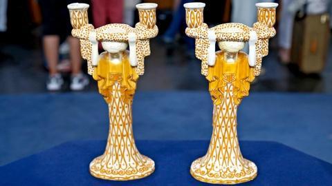 Antiques Roadshow -- S18 Ep15: Appraisal: Wiener Keramik Lamp Bases or Candlestic