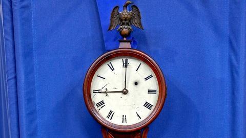 Antiques Roadshow -- S18 Ep18: Appraisal: Horace Tifft Banjo Clock, ca. 1840