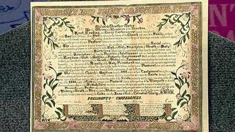 Antiques Roadshow -- S18 Ep30: Appraisal: Mormon Certificate of Gratitude