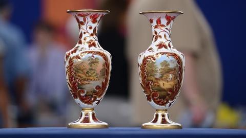 Antiques Roadshow -- S19 Ep5: Appraisal: Bohemian Mantel Vases, ca. 1880