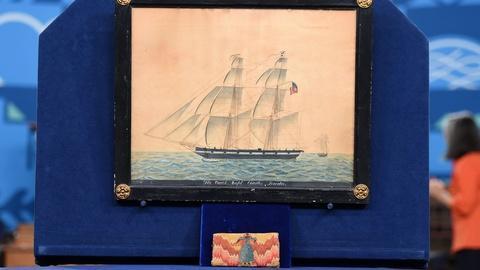 Antiques Roadshow -- Appraisal: Man's Flame Stitch Wallet & Ship's Portrait