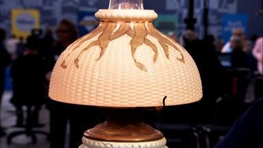 "Appraisal: Libbey Glass ""Maize Pattern"" Lamp, ca. 1889"