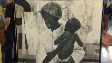 Appraisal: Charles McGee Charcoal Drawing, ca. 1965
