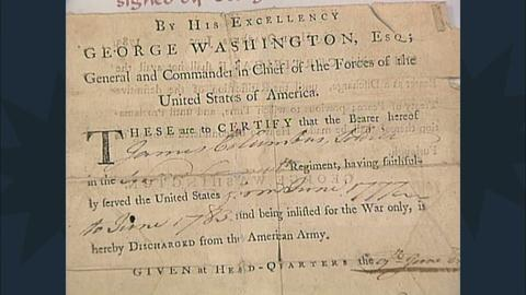 Antiques Roadshow -- S12 Ep19: Appraisal: Revolutionary War Discharge Signed by W