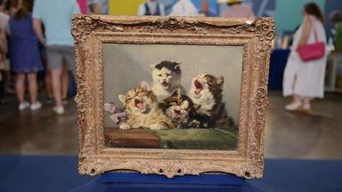 "Appraisal: Julius Adam II ""Kitten Symphony"" Oil Painting"