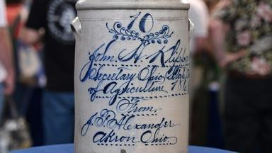 Appraisal: 1868 Ohio Salt-glazed Stoneware Crock