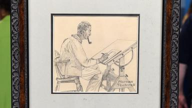 Appraisal: Norman Rockwell Charcoal Self-Portrait, ca. 1976