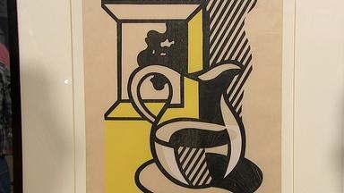 """Appraisal: 1981 Roy Lichtenstein """"Picture & Pitcher"""" Woodcut"""