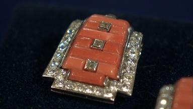 Appraisal: Cartier Art Deco Coral & Diamond Lapel Clips