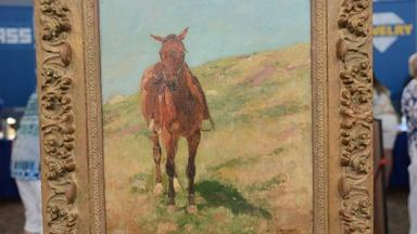 """Appraisal: Charles Schreyvogel """"A Lone Horse"""" Oil, ca. 1900"""