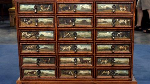 Antiques Roadshow -- S16 Ep19: Appraisal: Painted Collector's Cabinet, ca. 1900