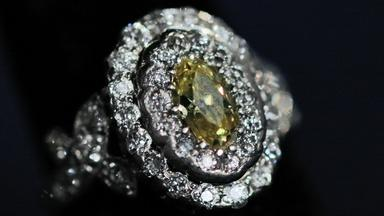 Appraisal: Yellow Diamond & Platinum Ring, ca. 1915