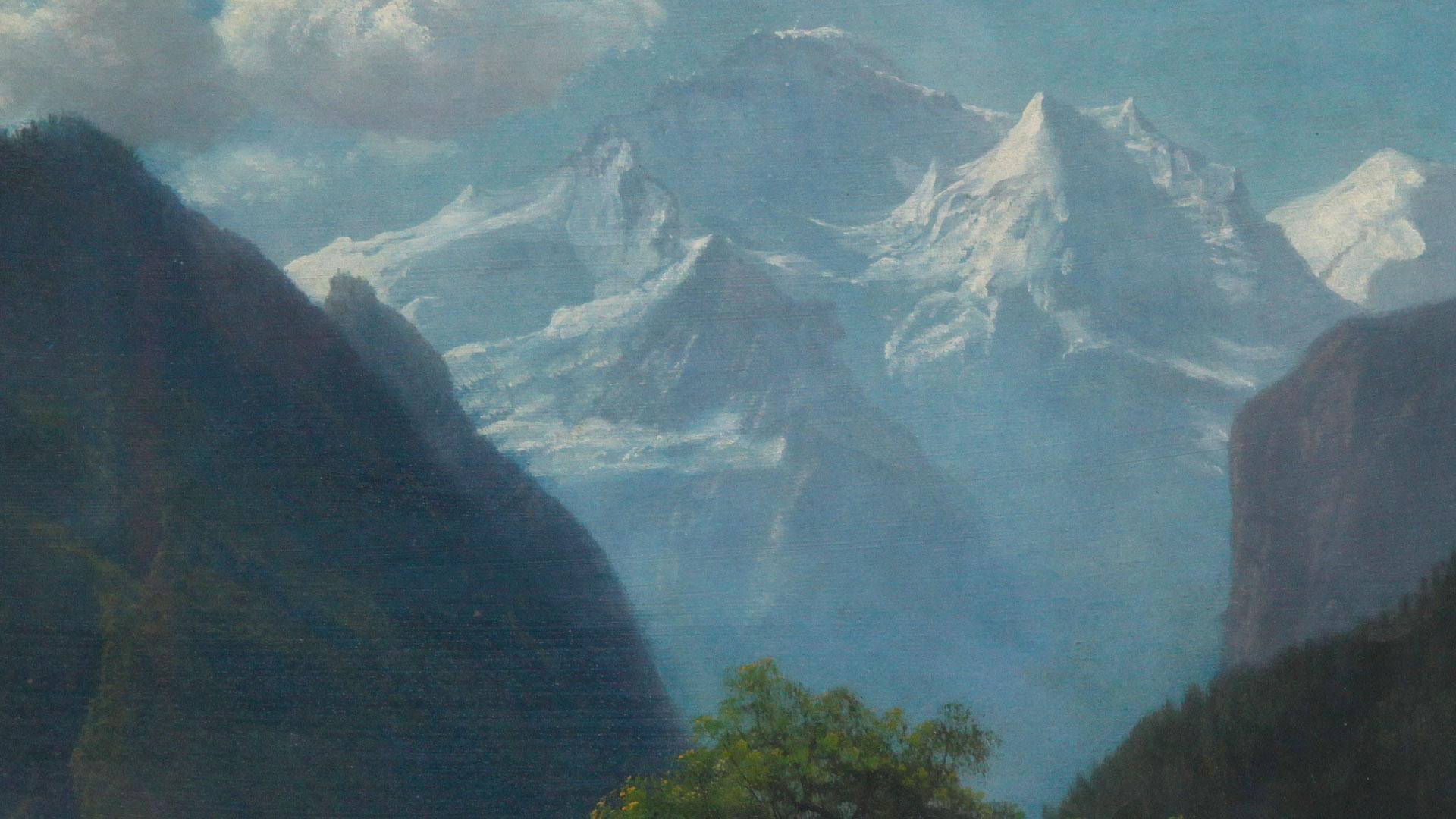 Appraisal Albert Bierstadt Mountain Landscape Oil Ca 1875