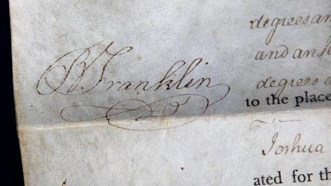 Antiques Roadshow -- S16 Ep13: Appraisal: 1787 Ben Franklin Signed Land Grant