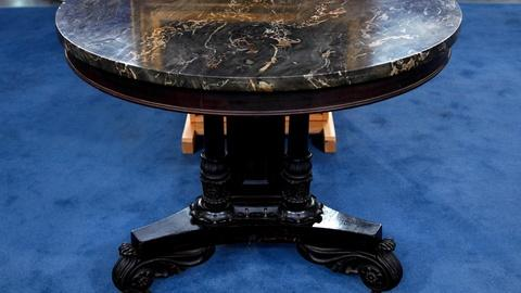 Antiques Roadshow -- S16 Ep13: Appraisal: Empire Mahogany Marble-Top Table & Port