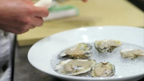 A Chef's Life -- Oysters on the Half-Shell With Hard Pear Mignonette