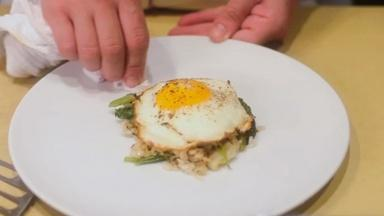 Ginger and Leek Crispy Rice with a Sunnyside-Up Egg