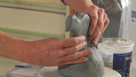 Craft in America -- Ceramic artist Susan Garson builds a bird menorah