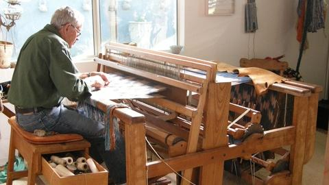 Craft in America -- S2 Ep1: Jim Bassler weaving on the loom