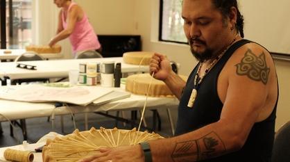 Craft in America -- Nisga'a Artist Mike Dangeli sings a victory song