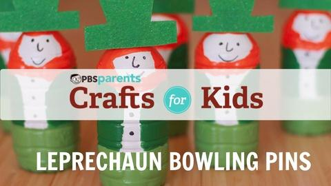 Crafts for Kids -- Leprechaun Water Bottle Bowling Pins
