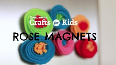 Crafts for Kids -- DIY Rose Magnets