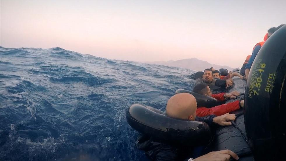 Inside a Sinking Dinghy Crossing the Mediterranean Sea image