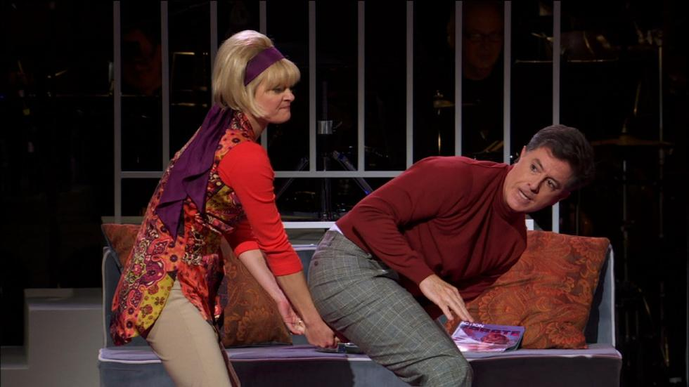 Stephen Colbert and Martha Plimpton Compare Karate Moves image