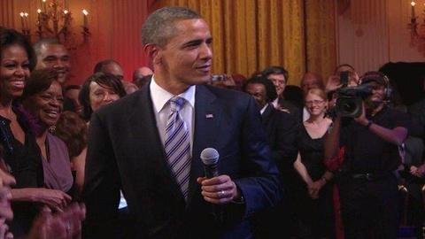 In Performance at The White House -- President Obama sings Sweet Home Chicago