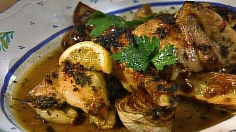In Julia's Kitchen With Master Chefs -- Roast Chicken with Garlic and Lemon with Gordon Hamersley