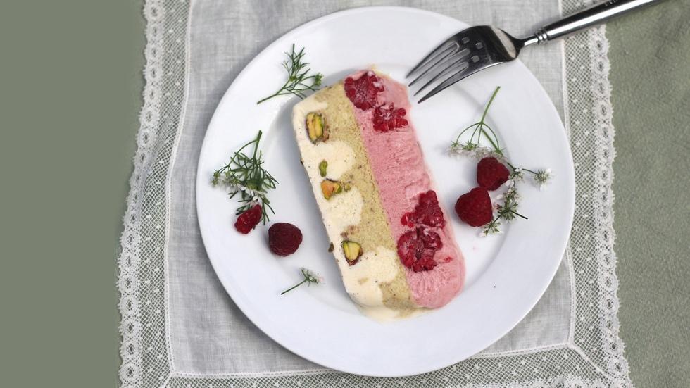 Raspberry, Pistachio and Vanilla Semifreddo image
