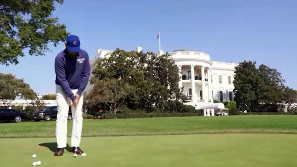 Bill Murray with President Obama at the White House image