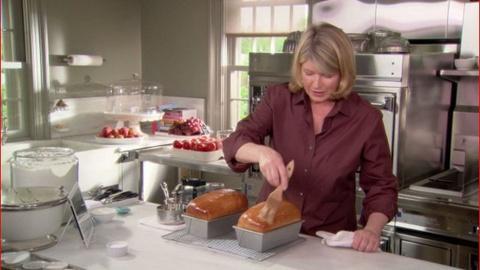 Martha Bakes -- Brushing Butter on Bread