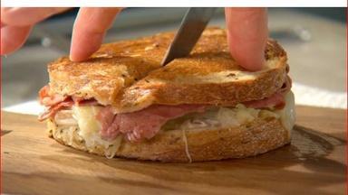 Preparing a Reuben Sandwich