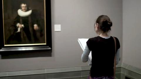National Gallery -- An Artist Sketching in the National Gallery