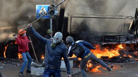 PBS NewsHour -- Ukraine unrest explodes into violence and fire
