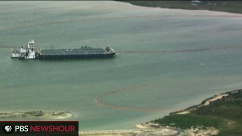 PBS NewsHour -- Texas City oil spill blocks major shipping channel