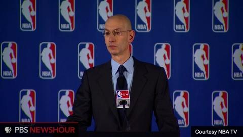 PBS NewsHour -- NBA commissioner announces fine, lifetime ban for Sterling