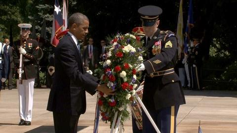 PBS NewsHour -- President Obama lays wreath at Tomb of the Unknown Soldier
