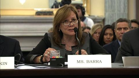 PBS NewsHour -- CEO Mary Barra defends GM's top lawyer at Senate hearing