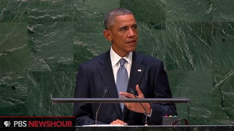 PBS NewsHour -- Obama takes Russia, Syria to task in UN speech
