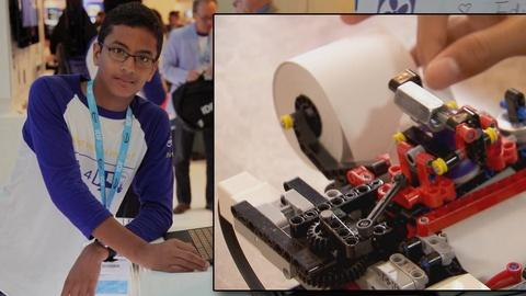 PBS NewsHour -- 13-year-old builds a printer for the blind with Lego blocks