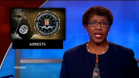 PBS NewsHour -- News Wrap: FBI arrests two in NY who planned to join IS