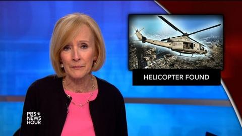 PBS NewsHour -- News Wrap: Wreckage of Marine helicopter found in Nepal