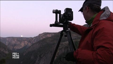 PBS NewsHour -- Photographers chase Yosemite's rare moonlight rainbows