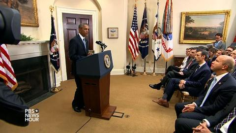 PBS NewsHour -- Obama pledges U.S. will 'stand by' families of hostages