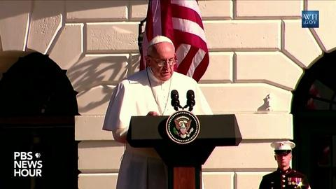 "PBS NewsHour -- Pope: Climate change can't ""be left to a future generation'"