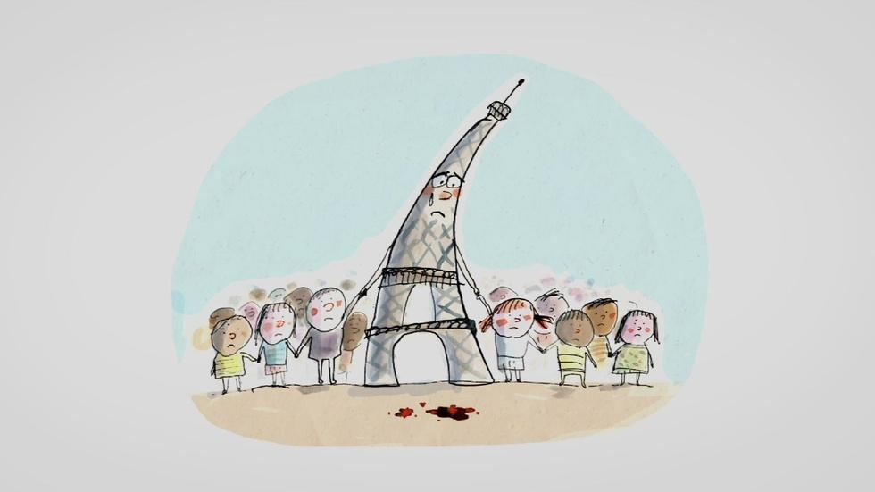 French couple helps children process attacks with cartoons image